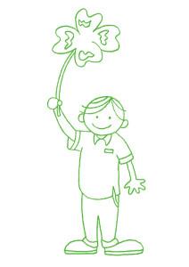 四葉のクローバーを持つ男の子
