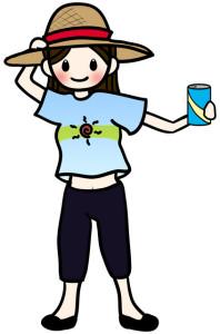 水分補給の女の子